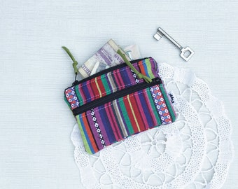 Etnhic Wallet, Tribal Card Holder, Bright Fabric Coin Purse Women, Colorful Money Clip