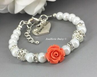 Coral Flower Bracelet Flower Girl Jewelry Flower Girl Bracelet Gift for Flower Girl Coral Bracelet Wedding Flower Jewelry Gift for Girl