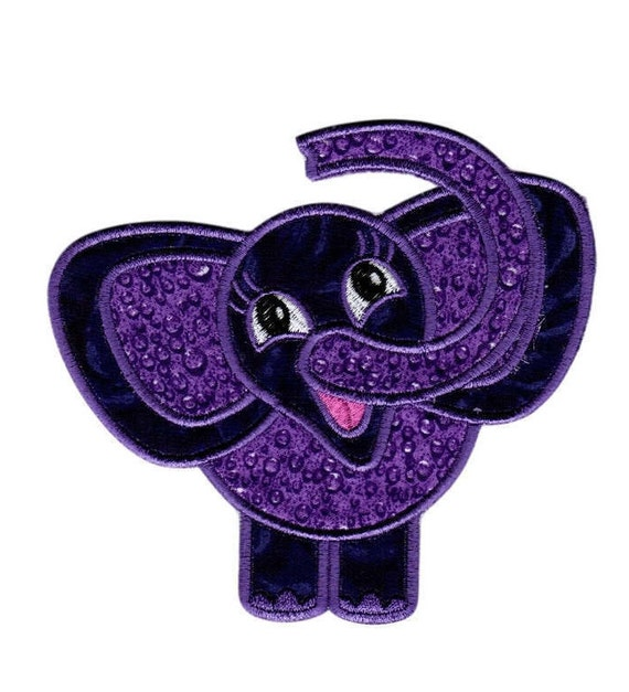 Elephant Embroidered Appliques, Iron On Patches, Front and Back Embroidered Patches, FREE SHIPPING