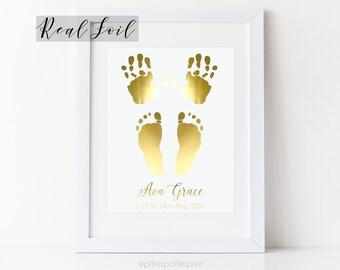 Gold Foil Nursery Baby Handprint & Footprint Birth Announcement Wall Art, Metallic Decor, New Baby Gift, 8x10 in UNFRAMED