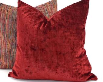 Red Velvet Throw Pillow Cover, 20x20, Stripe Red Velvet Pillow Cover