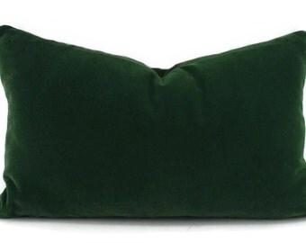 Emerald Green Velvet Lumbar Throw Pillow Cover, 12x20