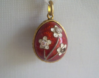 Russian Flower Egg Charm Pendant-Vintage Antique Guilloche Gold On Sterling Silver & Clear Crystals-Red White Enamel Forget Me Nots-00604