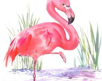 Flamingo art one of  akind painting pink flamingos, original watercolor painting 15 x 12 in