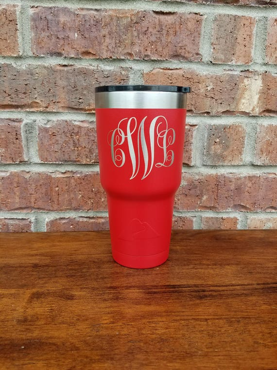 Mother's Day Gift, Red Powder Coated Tumbler, Laser Engraved, Personalized Tumbler