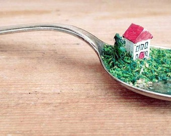 Miniature house, vintage English teaspoon, diorama, sculpture, ornament, landscape, tree, christening keepsake, wedding present, new home,