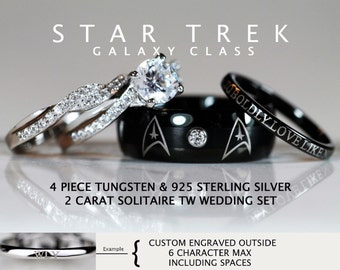 STAR TREK Galaxy Class Tungsten and 925 Sterling Silver 2 Carat CZ Wedding Ring Set, 8mm Star Fleet Insignia - Custom Engraved