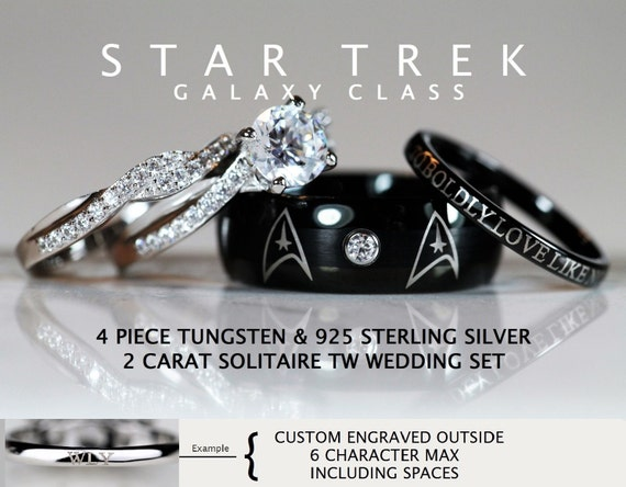 star trek galaxy class tungsten and 925 sterling silver 2 carat cz wedding ring set - Star Trek Wedding Ring
