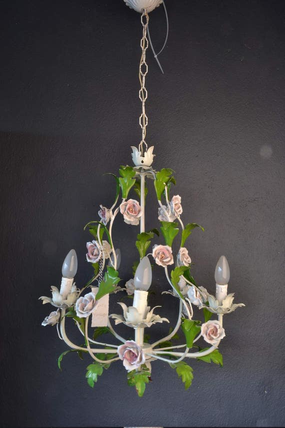 Stunning large tole Flower Chandelier with porcelain roses.