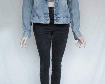 90s Vintage Light Blue Jean Denim Jacket for Women
