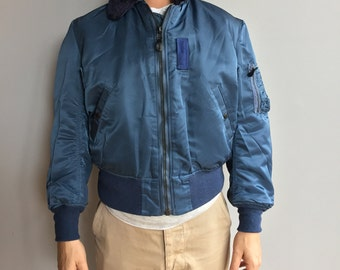 1980s B-15C NOS Blue Bomber Flying Jacket with Moutan Fur Collar Never worn.