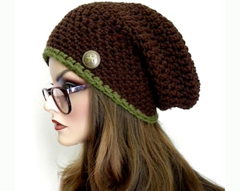 Brown Slouchy Hat,  Brown and Green Slouchy Beanie, Handmade, Knit Hat, Winter Hat, Crochet Slouchy Hat, Slouchy Hat with button,
