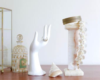 French hand vase or jewelry display, white porcelain, 1970s