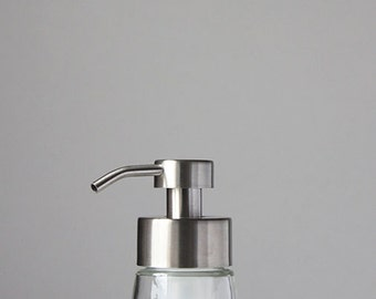 Small Glass Foaming Soap Dispenser with Stainless Metal Pump