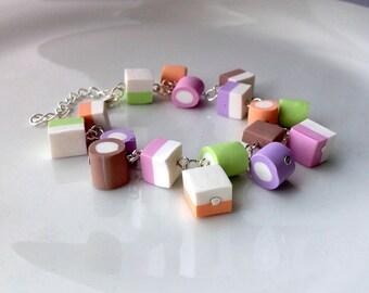 Dollymix Dolly Mixture Bracelet, Polymer Clay Miniature Food Jewelry [Jewellery] Gift Idea Candy Jewelry