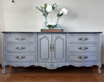 SOLD TO BENJAMIN - Vintage Thomasville Buffet, Sideboard, Credenza, Gray and Black French Country Console - French Provincial Dresser