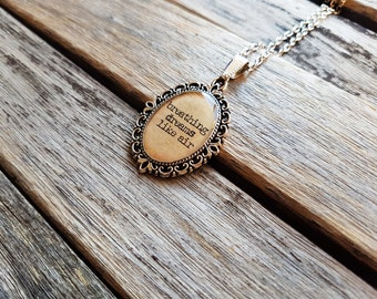 Breathing dreams like air - F. Scott Fitzgerald Quote - F. Scott Fitzgerald Necklace - Literature Jewelry -The Great Gatsby-Gift for readers