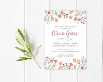 floral watercolor bridal shower invitation cheap bridal shower invitations bridal shower invitation printable