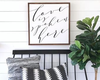 LOVE Is Spoken Here - Painted wood sign 24X24"