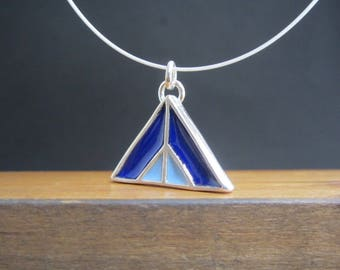 Mountain Necklace - New Century Modern - Blue and Yellow Reversible Enamel Necklace