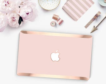 Rose Gold Pink Ombre and Rose Gold Edge Hybrid Hard Case for Apple Mac Air & Mac Retina , New Macbook 2016 - Platinum Edition