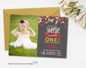 Sweetheart Invitation, Sweetie Invitation, Heart Birthday Invitation, Hearts Invitation, Valentine Invitation, Valentines Day Invitation,