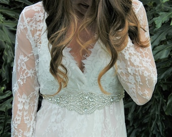 Bridal Sash, Bridal Belt, Swarovski Crystal Bridal Belt, Bridal Sash Belt,  Diadema Novia, Beaded Bridal Belt, Champagne Bridal Belt