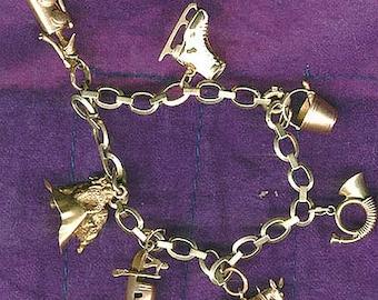 BIRKS 14k Charm BRACELET Art Deco 1930s 7 Unique 14 K 18K Figural Charms
