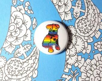 LGBT Rainbow Puppy Dog Pinback Button or Magnet
