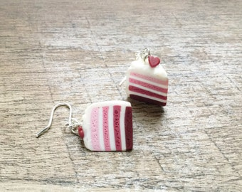 Girls Valentine Gift - Valentines Day Gift - Food Earrings - Food Jewelry - Cake Charm - Cake Earrings - gifts for teen girls