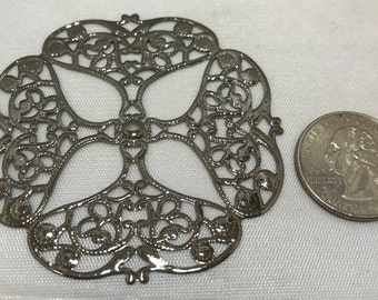 10 Filigree Focal pieces, Silver tone Metal, Findings, Craft/Jewelry Supplies, Lightweight