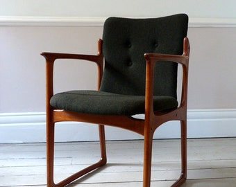 Vintage Mid-Century Danish Tweed Desk Chair