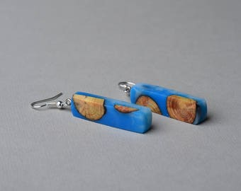 dangle wood earrings, unique modern resin jewelry, stick wooden earrings, gift for mom, boho resin earrings, wood slice jewelry, hippie