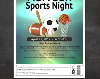 Mother - Son Sports Night - Field Day  - Event Custom Printable - Flyer - School, Church or city event flyer