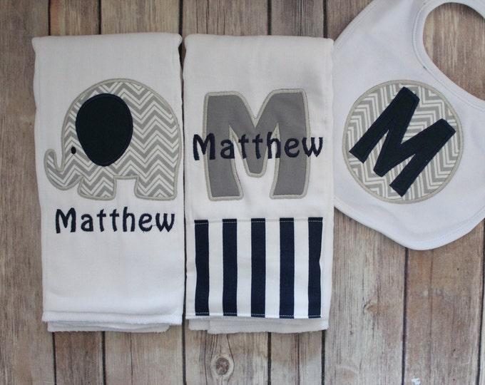 Baby Boy Elephant Burp Cloth and Personalized Bib Set - Monogrammed Elephant Burp Cloth Set with Applique Bib - Navy and Grey Boy Set