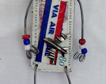 Recycled Art,Reclaimed Art Pin,Reclaimed,God Bless the USA,Stand Together,US AirMail,Postage Due Art Pin, Assemblage,Red White and Blue