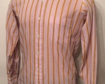 Vintage MENS 1960s Erie Clothing white, purple & gold striped long sleeve shirt