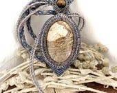 Crystal Necklace Harmony Pendant, Macrame with picture jasper gemstone, blue, beige