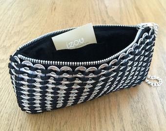 Soda Tab / Pop Tab Handmade Black Crochet Clutch with Wristlet Chain - Soda Tab Purse, Zipper Felt Clutch