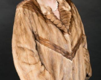 Beautiful Pastel Mink Fur Jacket Coat Excellent Condtion Sz XXL
