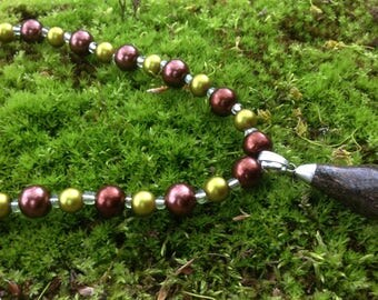 Bronzite Green & Brown Beaded Necklace