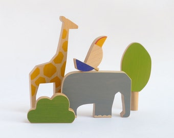 Set of 3 wooden toy animals, safari kids toy elephant, giraffe and bird