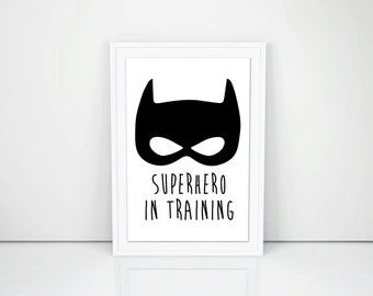 PRINTABLE ART - Superhero in training,  Poster - 8.5 x 11 in, Kids bedroom, Superhero,  Boys Wall decor, DIY - Print at home, nursery decor