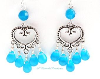 Aqua Sea Glass Earrings / Beach Glass Earrings / Heart Chandelier Earrings / Wire Wrapped Earrings /  Gift for Mom / Women's Gift
