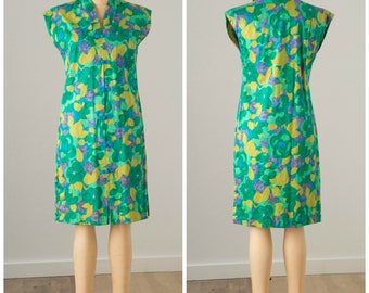 Miss Hawaii Green Floral Sheath Dress