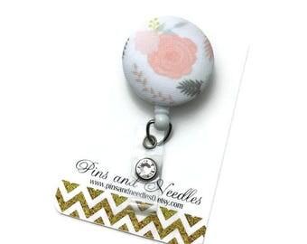 Flower ID Badge Reel - Retractable Badge Reel - Cute Id Badge Reels - Fabric Badge Holder - Fabric ID Badge Reel - Flower ID Badge Reel