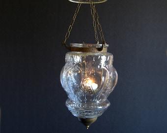 Vintage Hanging Brass Lantern - Pressed Glass Lantern - Glass Candle Holder - Indoor Mood Lighting Outdoor Patio Lighting - Boho Home Decor