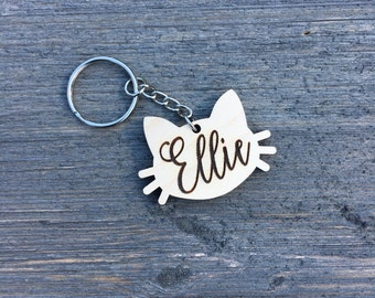 Personalized Cat Keychain, Wood Keychain, Engraved Wood Keychain, Cute Anniversary Wedding Birthday Christmas Bridesmaid Key Chain Ring Gift