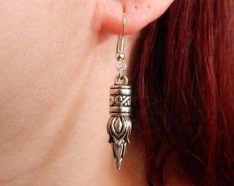 "Bud shaped spikes ""Pagan punk"" earrings in silver tone PAGAN / GOTHIC / PUNK style"
