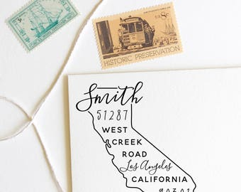 California return address stamp, state, self inking stamp or rubber stamp wood handle